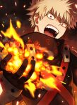 1boy angry bakugou_katsuki bangs black_gloves black_jacket blonde_hair boku_no_hero_academia commentary_request embers explosion furrowed_eyebrows gloves hand_up high_collar highres jacket looking_at_viewer male_focus open_mouth red_eyes short_hair solo spiky_hair teeth upper_body v-shaped_eyebrows yuko666