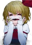 +_+ 1girl black_vest blood blood_on_face bloody_clothes blush collared_shirt commentary_request hair_ribbon hands_on_own_face happy highres ikurauni long_sleeves looking_at_viewer open_mouth platinum_blonde_hair red_eyes red_neckwear ribbon rumia sharp_teeth shirt short_hair smile solo teeth touhou vest white_background