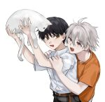 2boys absurdres animal annoyed belt black_hair black_pants brown_eyes cat commentary_request highres holding holding_animal holding_cat ikari_shinji looking_at_another male_focus multiple_boys muuyiie nagisa_kaworu neon_genesis_evangelion open_mouth orange_shirt pants red_eyes shirt shirt_tucked_in short_hair short_sleeves simple_background t-shirt upper_body upper_teeth white_background white_shirt