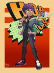 1boy black_pants black_shirt blue_jacket blush bo9_(bo9_nc) closed_mouth commentary_request dark_skin dark_skinned_male dated energy fur-trimmed_jacket fur_trim green_bag holding holding_poke_ball hop_(pokemon) jacket male_focus pants poke_ball poke_ball_(basic) pokemon pokemon_(game) pokemon_swsh purple_hair shirt shoes short_hair signature smile solo standing yellow_eyes