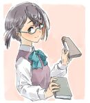 1girl black_hair blue-framed_eyewear book border bow bowtie brown_hair commentary_request cropped_torso dress_shirt glasses green_eyes kantai_collection long_sleeves looking_at_viewer multicolored_hair okinami_(kantai_collection) pink_background pink_hair purple_vest school_uniform shirt short_hair solo suzumaru two-tone_background upper_body vest white_border white_shirt