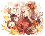 +++ 1girl :d blonde_hair commentary_request dated flower frills gloves hair_flower hair_ornament hairclip haku_(sabosoda) japanese_clothes kimono leaf little_red_riding_hood_(sinoalice) looking_at_viewer maple_leaf nightmare_(sinoalice) open_mouth orange_eyes sinoalice smile upper_teeth waist_bow white_background