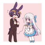 1boy 1girl alternate_costume animal_ears apron aurora_sya_lis_kaymin bangs black_jacket black_pants blue_bow blue_dress blue_footwear blunt_bangs blush_stickers bow brown_neckwear bunny_tail chibi closed_mouth collared_dress collared_shirt curled_horns demon_boy demon_cleric demon_horns demon_tail dress eyebrows_visible_through_hair fang flying_sweatdrops formal frilled_apron frills hacha_(hachaowo) hair_between_eyes hair_bow holding_tail horns jacket kemonomimi_mode long_hair long_sleeves maou-jou_de_oyasumi mary_janes necktie open_mouth pants pantyhose pink_background puffy_short_sleeves puffy_sleeves purple_hair rabbit_boy rabbit_ears shirt shoes short_sleeves silver_hair standing suit sweat tail two-tone_background very_long_hair violet_eyes white_apron white_background white_legwear white_shirt