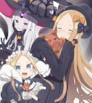 1girl :d abigail_williams_(fate/grand_order) bangs black_bow black_dress black_footwear black_gloves black_headwear blonde_hair blue_eyes blush bow bug butterfly butterfly_hair_ornament chibi closed_eyes closed_mouth colored_skin commentary_request dress elbow_gloves fate/grand_order fate_(series) forehead gloves grey_skin grin hair_bow hair_ornament hat hat_bow highres insect keyhole long_hair long_sleeves multiple_views object_hug open_mouth orange_bow parted_bangs polka_dot polka_dot_bow print_bow red_eyes sharp_teeth shirt shoes sleeveless sleeveless_dress sleeves_past_fingers sleeves_past_wrists smile sparkle star_(symbol) star_print stuffed_animal stuffed_toy teddy_bear teeth totatokeke v v-shaped_eyebrows very_long_hair white_hair white_shirt witch_hat