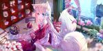 1girl animal_ear_fluff animal_ears ball bangs bare_shoulders barefoot blonde_hair blue_eyes blue_ribbon blurry blurry_foreground blush butterfly_hair_ornament character_doll commentary_request day depth_of_field eyebrows_visible_through_hair feet_out_of_frame flower hair_between_eyes hair_ornament hair_ribbon highres kagamine_len kagamine_rin long_hair long_sleeves looking_at_viewer multiple_tails off_shoulder on_floor original parted_lips peas_(peas0125) pink_flower ribbon sleeves_past_wrists smile solo tail two_tails very_long_hair vocaloid white_flower window