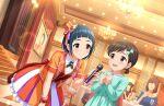 blue_eyes blue_hair blush dress idolmaster_cinderella_girls_starlight_stage okazaki_yasuha short_hair smile