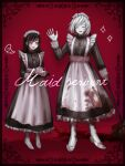 1boy 1girl :d :o akudama_drive alternate_costume apron black_dress black_hair blood blood_on_face bloody_clothes closed_eyes cup cutthroat_(akudama_drive) dress enmaided highres holding holding_mop holding_tray maid maid_apron maid_headdress mop multicolored_hair nemuritaa open_mouth pale_skin pink_eyes red_background simple_background smile standing sweat swindler_(akudama_drive) teacup teapot tray two-tone_hair waving white_footwear white_hair white_legwear