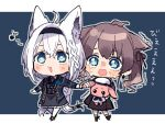 2girls ahoge animal_ears ascot bangs blue_background blue_eyes blue_flower blue_jacket blue_rose blush braid braided_ponytail brown_hair brown_skirt commentary_request crying doll earrings eighth_note eyebrows_visible_through_hair flower fox_ears fox_girl fox_tail frilled_skirt frills grey_skirt hair_between_eyes hairband holding holding_doll holding_hand hololive jacket jewelry letterboxed multiple_girls musical_note natsuiro_matsuri nitumaruta open_mouth pantyhose rose scared shirakami_fubuki sidelocks single_braid skirt tail twintails virtual_youtuber white_hair white_legwear