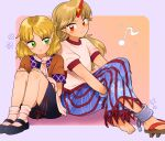 2girls black_footwear blonde_hair blue_background blue_skirt blush_stickers brown_shirt chain cuffs eighth_note geta green_eyes hands_on_own_knees highres horns hoshiguma_yuugi knees_up leaning_on_person leg_hug looking_at_another looking_at_viewer mito_(mo96g) mizuhashi_parsee multiple_girls musical_note pink_background pink_legwear pointy_ears puffy_short_sleeves puffy_sleeves red_eyes shackles shadow shirt shoes short_hair short_sleeves sideways_glance simple_background single_horn single_shoe sitting skirt smile socks star_(symbol) striped striped_skirt touhou two-tone_background white_shirt
