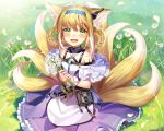 1girl :d animal_ear_fluff animal_ears arknights bare_shoulders blonde_hair blue_hairband braid commentary day flower frilled_skirt frills grass hair_rings hairband highres holding holding_flower ion_(on01e) looking_at_viewer multicolored_hair multiple_tails on_grass open_mouth outdoors pleated_skirt purple_skirt shirt sidelocks skirt smile solo sparkle sunlight suzuran_(arknights) tail twin_braids two-tone_hair white_flower white_hair white_shirt