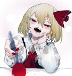 1girl arm_rest black_vest blush bow collared_shirt commentary_request fangs feeding hair_bow hair_ribbon highres ikurauni long_sleeves open_mouth platinum_blonde_hair red_eyes red_nails ribbon rumia shirt short_hair solo spoon touhou vest white_background white_shirt