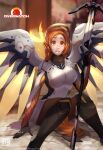 1girl absurdres arm_support artoflariz bleach bodysuit breasts copyright_name cosplay crossover highres inoue_orihime knees_together_feet_apart large_breasts looking_at_viewer mechanical_wings mercy_(overwatch) mercy_(overwatch)_(cosplay) open_mouth orange_eyes orange_hair overwatch photoshop_(medium) solo teeth wings
