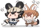 2girls african_wild_dog_(kemono_friends) african_wild_dog_print animal_ear_fluff animal_ears arm_at_side arms_at_sides bangs black_hair bodystocking bow bowtie brown_hair chibi commentary dhole_(kemono_friends) disembodied_limb dog_ears dog_girl dog_tail english_commentary extra_ears eyebrows_visible_through_hair full_body gloves grey_hair hand_up heart kelalapa kemono_friends kemono_friends_3 long_sleeves looking_to_the_side medium_hair multicolored_hair multiple_girls shirt shoes shorts skirt standing tail two-tone_hair white_hair