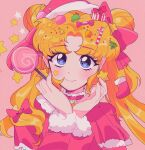 1girl bangs bell bishoujo_senshi_sailor_moon blonde_hair blush bow box candy christmas double_bun earrings eyebrows_visible_through_hair food fur_trim gift gift_box hair_bow hair_ornament hat highres jewelry lollipop long_hair long_sleeves meowwniz parted_bangs pink_background pink_bow solo star_(symbol) star_earrings tsukino_usagi twitter_username upper_body