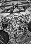 1girl absurdres bare_shoulders bracelet claws closed_mouth covered_navel floating greyscale halo highres horns izayoi_cha jewelry long_hair looking_at_viewer monochrome one_eye_closed original sketch solo spikes teeth third_eye torn torn_wings wings