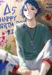 1boy aqua_shirt blue_eyes blue_hair collarbone dated hand_on_own_leg happy_birthday hayate_immelmann highres jewelry long_sleeves looking_at_viewer macross macross_delta necklace paint_splatter pants pote-mm shirt sitting smile solo white_pants