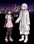 1boy 1girl akudama_drive arm_at_side back_hair black_choker black_gloves choker cityscape coat cutthroat_(akudama_drive) elbow_gloves fingerless_gloves gloves lowres nemuritaa outdoors pink_skirt pixel_art platform_footwear skirt sprite standing swindler_(akudama_drive) white_coat white_footwear white_hair white_skin