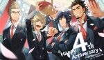4boys :d anniversary arm_up arms_up basket black_hair black_jacket black_suit black_vest blonde_hair blue_eyes brown_hair clenched_hand closed_mouth collared_shirt crossed_arms dress_shirt facial_hair falling_petals final_fantasy final_fantasy_xv flower_basket formal gladiolus_amicitia glasses goatee green_eyes grin hands_up highres holding holding_basket ignis_scientia indoors jacket long_sleeves looking_away male_focus multiple_boys necktie noctis_lucis_caelum one_eye_closed open_mouth ponytail prompto_argentum red_neckwear scar scar_on_face shirt short_hair smile spiky_hair teeth vest white_shirt yuzukarin