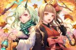 2girls autumn_leaves black_gloves blonde_hair bow chain commentary_request eyebrows_visible_through_hair flower frills gloves green_hair hair_bow hair_flower hair_ornament hairclip horns japanese_clothes kimono leaf lf_(paro) little_match_girl_(sinoalice) little_red_riding_hood_(sinoalice) long_hair looking_at_viewer maple_leaf multiple_girls orange_eyes oriental_umbrella red_eyes sash scarf short_hair single_horn sinoalice umbrella upper_teeth waist_bow wide_sleeves
