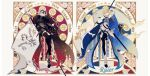 2girls absurdres armor armored_boots armored_dress black_legwear blonde_hair blue_eyes boots breasts cape character_name copyright_name fate/grand_order fate_(series) flag flagpole flower fur_trim gauntlets headpiece highres jeanne_d'arc_(alter)_(fate) jeanne_d'arc_(fate) jeanne_d'arc_(fate)_(all) large_breasts long_hair looking_at_viewer multiple_girls rose satsuki_(miicat) scabbard sheath sheathed short_hair silver_hair star_(symbol) sword thigh-highs weapon yellow_eyes