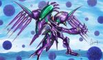 amasaki_yusuke artist_name claws facing_down floating mark_nicht mecha mechanical_wings no_eyes no_humans ocean open_hands science_fiction solo soukyuu_no_fafner waves wings