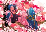 1boy belt blue_hair book bracelet capelet charatei cherry_blossoms cu_chulainn_(fate)_(all) cu_chulainn_(fate/grand_order) dango earrings eating elbow_gloves fate/grand_order fate_(series) food food_in_mouth from_side full_body fur-trimmed_hood fur_trim gloves harem_pants highres hood hood_down hooded_capelet in_tree jewelry long_hair looking_at_viewer lying male_focus muscle on_back pants petals red_eyes sanshoku_dango solo spiky_hair tank_top toeless_legwear tree type-moon wagashi