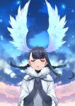 1girl bangs bird_girl bird_wings black-headed_ibis_(kemono_friends) black_gloves black_hair black_neckwear bow bowtie braid closed_eyes clouds cloudy_sky elbow_gloves eyebrows_visible_through_hair facing_viewer frilled_sleeves frills fur_collar gloves hands_clasped hands_together happa_(cloverppd) head_wings kemono_friends neck_ribbon own_hands_together parted_lips praying ribbon shirt short_hair short_sleeves sky solo twin_braids upper_body white_fur white_shirt wings