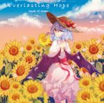 1girl album_cover back bangs bat_wings blue_sky blurry_foreground bow cherry_blossoms clouds cloudy_sky cover dress dusk eyebrows eyelashes falling_petals field flower flower_field frilled_dress frills gradient_sky hat hat_ribbon highres jewelry light_purple_hair looking_at_viewer medium_hair mirimo neck_ring orange_sky petals pink_lips red_eyes red_ribbon remilia_scarlet ribbon shaded_face shadow sky smile solo straw_hat sunflower tears touhou waist_bow white_dress white_neckwear wings