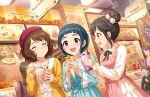 blue_hair blush brown_eyes idolmaster_cinderella_girls_starlight_stage okazaki_yasuha shirt short_hair smile