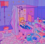 1girl backpack bag bathtub bishoujo_senshi_sailor_moon blonde_hair blue_eyes double_bun heart highres long_hair meowwniz mirror partially_submerged petals shelf shirt shower_curtain shower_head sitting slippers solo star_(symbol) toilet towel tsukino_usagi twintails