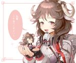 2girls 722_(tsk02324) :d absurdres animal_ears arknights bangs black_gloves brown_hair chibi commentary_request dress eyjafjalla_(arknights) fingerless_gloves gloves highres holding horns long_hair long_sleeves looking_at_viewer minigirl multiple_girls multiple_persona open_mouth partial_commentary pink_eyes purple_dress sheep_ears sheep_horns smile speech_bubble translation_request upper_body white_background