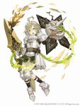 1boy :o ahoge armor armored_boots belt boots breastplate chain crossdressinging faulds full_body gauntlets glaive green_eyes green_hair ji_no knee_pads long_nose looking_at_viewer maid_headdress official_art otoko_no_ko pinocchio_(sinoalice) plate_armor shield shoulder_armor sinoalice solo square_enix tongue tongue_out upper_teeth white_background