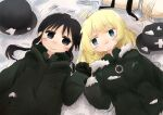 2girls absurdres blonde_hair blue_eyes chito_(shoujo_shuumatsu_ryokou) eye_contact greek_cross green_vest highres holding_hands looking_at_another lying military moemoe_minamon multiple_girls snow staring vest yuri yuuri_(shoujo_shuumatsu_ryokou)
