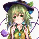 1girl absurdres black_headwear blouse bow breasts closed_mouth collarbone commentary_request eyeball eyebrows_visible_through_hair finger_to_mouth green_bow green_eyes green_hair hair_between_eyes hands_up hat hat_bow highres ikazuchi_akira komeiji_koishi long_sleeves looking_at_viewer medium_hair simple_background small_breasts smile solo third_eye touhou upper_body white_background wide_sleeves yellow_blouse