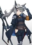1girl animal_ears arknights banco233 collar grani_(arknights) grey_background grey_hair highres holding holding_weapon leg_armor long_hair long_jacket looking_at_viewer ponytail simple_background smile violet_eyes weapon
