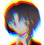 chromatic_aberration collar hair_ornament iwakura_lain looking_at_viewer lowres ronoh_(jill) serial_experiments_lain short_hair simple_background white_background white_collar x_hair_ornament