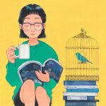 1girl bangs birdcage black_hair black_shorts book cage closed_eyes cup feet_out_of_frame glasses green_shirt highres holding holding_cup kan0nakan0 long_sleeves open_book original pile_of_books shirt short_hair shorts simple_background sitting solo twitter yellow_background
