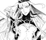 1boy ahoge androgynous eyeshadow fate/grand_order fate_(series) fingernails forehead_jewel furumi_showichi greyscale liquid long_hair looking_at_viewer makeup male_focus monochrome multicolored_hair qin_shi_huang_(fate/grand_order) revealing_clothes sharp_fingernails solo two-tone_hair upper_body very_long_hair