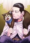 1boy animal_on_shoulder belt black_eyes black_hair blue_jacket blue_pants brown_cat cat cat_on_person cat_on_shoulder cloak collared_jacket decoy00xx expressionless facial_hair food food_on_face goatee golden_kamuy hair_slicked_back hair_strand hood hooded_cloak jacket long_sleeves male_focus military military_uniform ogata_hyakunosuke pants scar scar_on_cheek scar_on_face short_hair solo spread_legs stubble undercut uniform