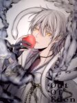 1boy black_gloves food fruit gloves hand_up highres holding holding_food holding_fruit hoojiro japanese_clothes long_sleeves looking_at_viewer original parted_lips partially_fingerless_gloves snake solo white_hair white_snake yellow_eyes