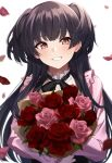 bangs black_hair black_ribbon blouse blunt_bangs blurry_foreground bouquet commentary eyebrows_visible_through_hair flower highres holding holding_bouquet idolmaster idolmaster_shiny_colors kurousagi_yuu long_hair looking_at_viewer mayuzumi_fuyuko neck_ribbon petals pink_blouse pink_flower pink_rose red_flower red_rose ribbon rose smile solo two_side_up upper_body white_background