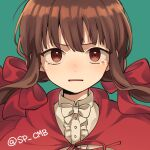1girl alternate_costume alternate_hair_ornament bangs bow brown_hair cape center_frills commentary_request danganronpa frills green_background hair_ornament harukawa_maki long_hair looking_at_viewer low_twintails new_danganronpa_v3 open_mouth red_bow red_cape red_eyes shirt simple_background solo takagiri tearing_up twintails white_shirt
