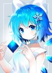 1girl :o bangs bare_arms bare_shoulders blue_eyes blue_hair bow check_commentary choker cirno collarbone commentary commentary_request crystal eyebrows_visible_through_hair fairy fingernails floating floating_object flower grey_background hair_between_eyes hair_bow hair_flower hair_ornament hands_up head_tilt highres ice ice_wings looking_at_viewer parted_lips shiny shiny_hair short_hair snowflake_print solo tank_top touhou upper_body white_bow white_choker white_tank_top wings yuujin_(yuzinn333)
