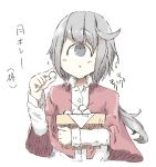 1girl alastor1211 capelet chewing commentary_request cyclops food grey_hair long_hair one-eyed original shirt simple_background solo translation_request upper_body white_background