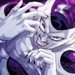 1boy angry collarbone dragon_ball dragon_ball_z dutch_angle evil_smile face fingernails frieza hands_up looking_at_viewer male_focus muscle purple_lips shiny smile solo teeth upper_body violet_eyes yagi2013