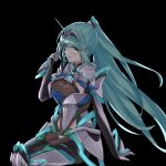 1girl bangs black_background breasts chest_jewel cowboy_shot from_side gloves green_eyes green_hair highres large_breasts long_hair long_ponytail pneuma_(xenoblade) ponytail sarasadou_dan simple_background sitting solo swept_bangs tiara very_long_hair xenoblade_chronicles_(series) xenoblade_chronicles_2