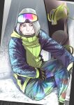 1boy alternate_costume black_eyes black_hair blue_jacket blue_pants collared_jacket crossed_legs decoy00xx facial_hair feet_out_of_frame goatee goggles goggles_on_head golden_kamuy hair_strand hood hood_up jacket light_smile long_sleeves looking_at_viewer male_focus ogata_hyakunosuke pants scar scar_on_cheek scar_on_face short_hair sitting solo stubble winter_clothes