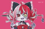 1girl artist_name bangs black_bow bow claw_pose colored_skin double_bun fangs fingernails grey_skin hair_bow heterochromia highres hololive hololive_indonesia huge_bow kukie-nyan kureiji_ollie looking_at_viewer open_mouth pink_background red_bow red_eyes sharp_fingernails solo stitches sword symbol-shaped_pupils v-shaped_eyebrows virtual_youtuber weapon yellow_eyes zombie