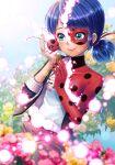 1girl absurdres blue_eyes blue_hair blush cheek-to-cheek domino_mask flower highres ladybug_(character) low_twintails marinette_dupain-cheng mask medium_hair miraculous_ladybug polka_dot smile solo superhero tikki_(miraculous_ladybug) twintails yuizawa