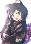 1girl :d animal_ear_fluff animal_ears bangs black_hair black_kimono blush braid cat_ears cat_girl cat_tail commentary eyebrows_visible_through_hair fang floral_print flower french_braid green_eyes hair_flower hair_ornament highres holding japanese_clothes karyl_(princess_connect!) kimono long_hair looking_at_viewer multicolored_hair new_year obi open_mouth pink_sash princess_connect! princess_connect!_re:dive sash sigma_rio smile solo streaked_hair tail white_background white_hair